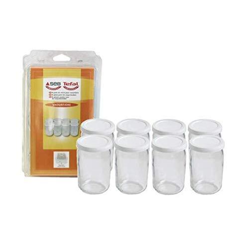 Seb 989641 8 Pots Verre pour Yaourtires Couvercle Farine