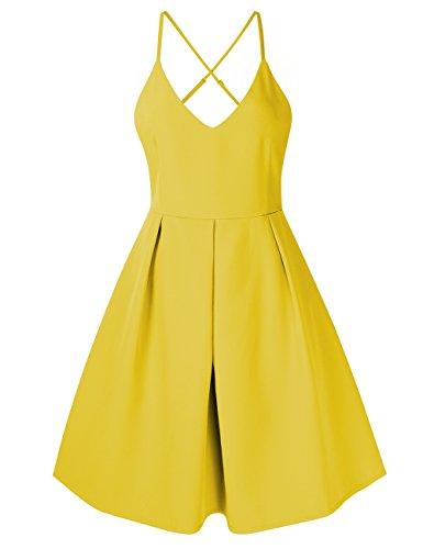KoJooin Damen Elegant Rückenfreies Abendkleid Cocktailkleid Sommerkleid Spaghetti Trägerkleid mit...