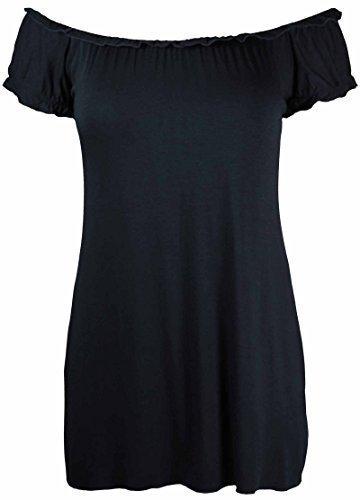 Neu Damen Offene Schulter Geraffte T-Shirt Oberteile Womens Gypsy Boho Gerüscht Elastische Dehnung Top Plus Größe - Schwarz, 50-52 (T-shirts Größe Plus Womens)