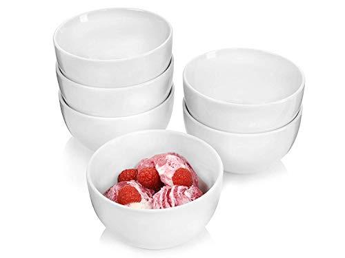 Sänger Porzellanschalen Sunfort - 6 teiliges Schalen-Set aus Porzellan zur Verwendung als Müslischalen, Salatschüsseln oder Dessertschalen, Füllmenge 450 ml, mikrowellengeeignet und spülmaschinenfest