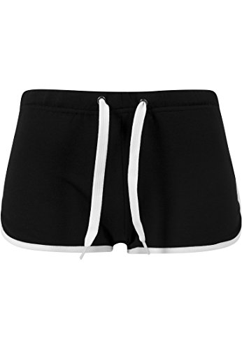 French Terry Classic Fit Pant (URBAN CLASSICS - LADIES FRENCH TERRY HOTPANTS - BLACK / WHITE)