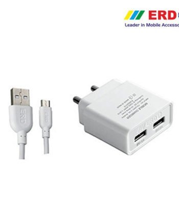 Scotch-Brite ERD. 2 Amp Dual Port Charging Adaptor with 1 Meter USB Cable for All Android Phones (White)