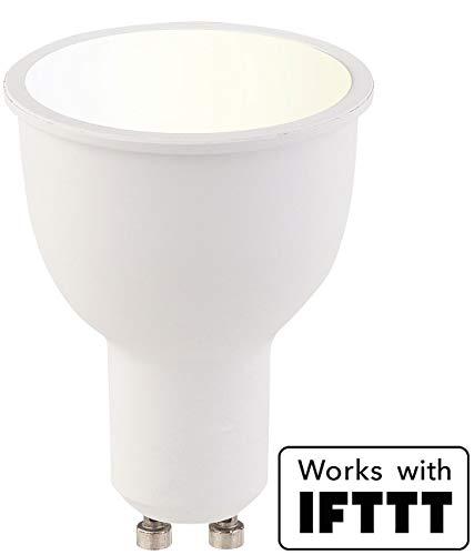 Luminea Home Control LED Leuchtmittel: WLAN-LED-Lampe, komp. zu Amazon Alexa & Google Assistant, GU10, weiß (Alexa-LED-Spots) - Drei-licht-post-lampe