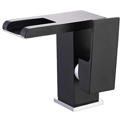 Rubinetto a cascata per lavabo da bagno, colore nero, con led a batteria, miscelatore caldo e freddo, con luce led