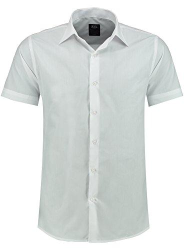 J'S FASHION Herren-Hemd – Slim-Fit – Bügelleicht – Business, Hochzeit, Freizeit – Kurzarm Hemd für Männer Weiß S