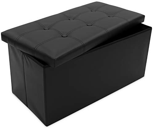Grinscard Große Sitzbank mit Gepolstertem Deckel und Staufach - 76x38x35cm, Schwarz - Faltbare Sitztruhe Zur Aufbewahrung