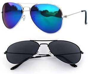 Sheomy Unisex Combo Pack of Aviator Sunglasses for Men and Women - Mirrored Sunglasses ( Black Black - Mercury Blue ) (CM-NEW-AV-0051)