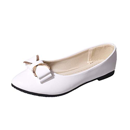 OSYARD Damen Flache Schuhe Frauen Lederloafer Bowknot Freizeitschuhe Ballerinas Halbschuhe Bequeme Slip-On Flats Slipper Mokassins