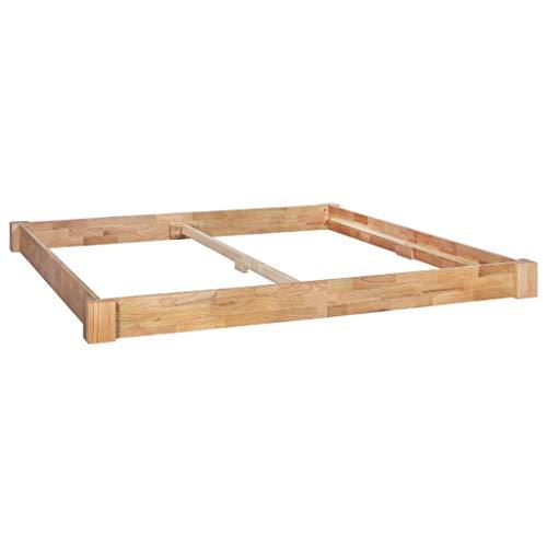 vidaXL Eichenholz Massiv Bettgestell ohne Matratze Bettrahmen Doppelbett Jugendbett Holzbett Massivholzbett Futonbett Bett Schlafzimmer 180x200 cm -