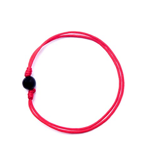 Bow, Pulsera Hilo Rojo Nylon con Azabache (6 ó 7mm) contra el Mal de Ojo