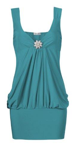 Fast armellose fashion pour femme coupe détaillée drapé artebenen partie top Turquoise - Turquoise
