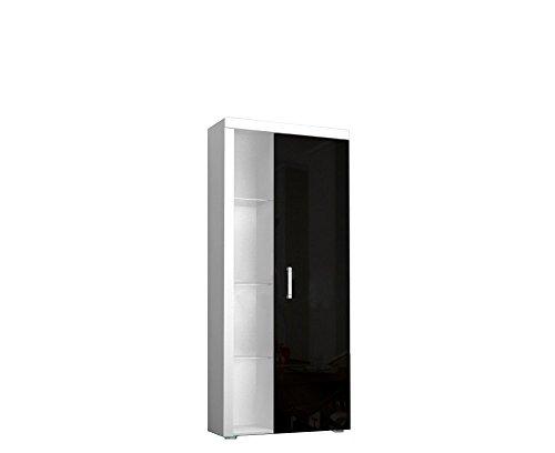 Regal SAMBA Standregal mit Türen, Hochglanz, mit LED Beleuchtung (Weiß / Schwarz Hochglanz)