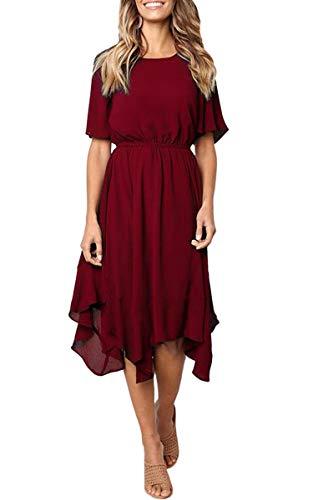 ECOWISH Damen Chiffon Kleider Asymmetrisch Sommerkleid Einfarbig Rundhals Kurzarm Plissee Kleid Casual Lose Kleid Knielang Rot M