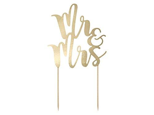 PartyDeco Pick Mr&Mrs Tortenstecker (Cake Gold Topper Wedding)