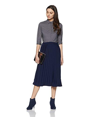 Van Heusen Women's Body Blouse Shirt (8907445149641_VWSF1F51851_Grey Dotted_X-Small)