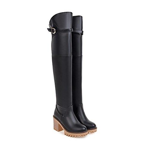 QIN&X Le donne del blocco Tacchi Alti Round Toe lunghi stivali scarpe di piattaforma Black