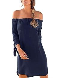 4c0cee1d1aa9 Theshy Donne Estate Casual Sciolto Soild Lace Slash Collo Tre Quarti Split  Beach Dress Elegante Vestito