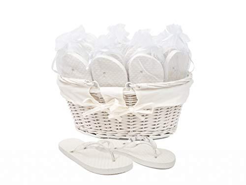 Flip Flop Modo Matrimonio/Feste Bianco 20 Paia in Tre Taglie Diverse, presentate in Un Cesto di Vimini 3 Paia Taglia 35-36, 12 Paia Taglia 38-39, 5 Paia Taglia 40-41