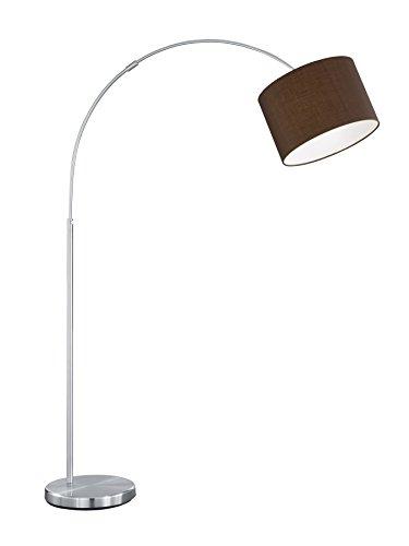 lightling modern Bogenleuchte in nickel matt, Stoffschirm braun, 1 x E27 max. 60W, ø 30 cm, Höhe: 150-215 cm