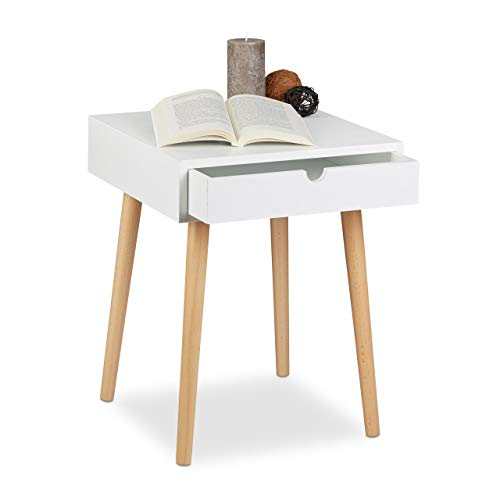 Relaxdays 10020502 Table de chevet ARVID table de nuit console avec tiroir table appoint en bois HxlxP: 50,5 x 40 x 40 cm style nordique design scandinave, blanc