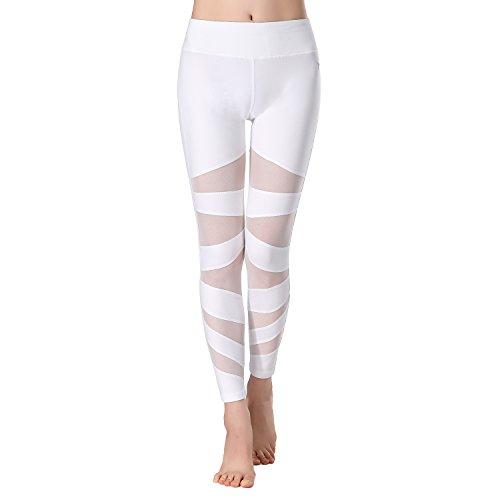 Beepeak Legging de sport long en maille pour femme blanc