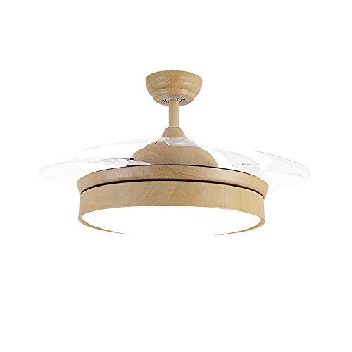 Anfay invisibilità soffitto ventilatore luce con telecomando moderno led lampadario interna soggiorno creativo soffitto,woodgrain