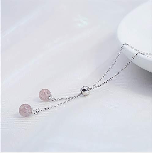 S925 Sterling Silber Kleine Frische Erdbeere Kristall Schlüsselbein Kette Weibliche Transfer Perlen Einstellbare Einfache Trick Pfirsich Geschenk Halskette -