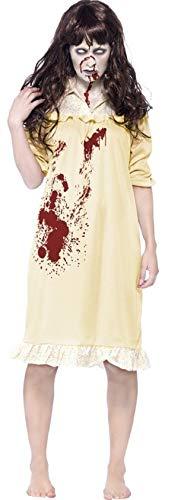 Exorzist Kostüm - Damen-Zombie Besessen Demon Exorzist Halloween Kostüm Kleid Outfit 4-18 - Gelb, UK 16-18