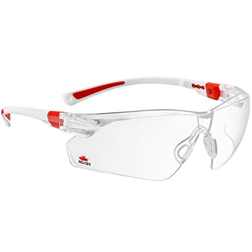 NoCry Schutzbrille mit Durchsichtigen Anti-Beschlag und kratzbeständigen Gläsern, Seitenschutz und Rutschfesten Bügeln, UV-Schutz, verstellbar, weiß roter Rahmen