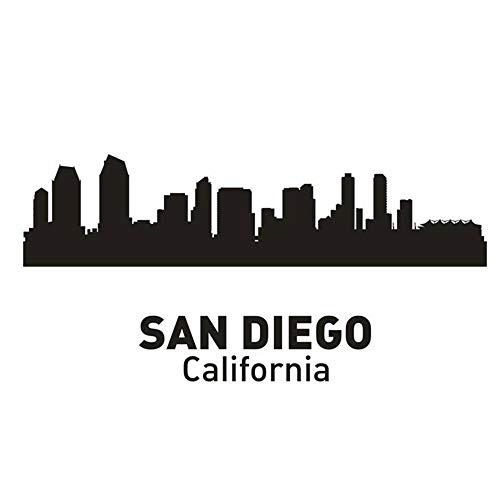 wandaufkleber 3d Wandtattoo Schlafzimmer San Diego City Decal Wahrzeichen Skyline Sketch Decals Poster Wohnkultur Aufkleber für Wohnzimmer -