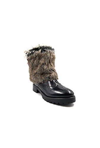 CHIC NANA . Chaussure femme bottine en similicuir, style richelieu avec fourrure amovible. Noir