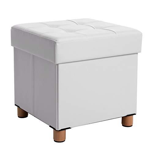 SONGMICS Sitzhocker, faltbare Sitztruhe, gepolstert, mit Deckel, Füße aus Massivholz, platzsparend, bis 300 kg belastbar, für Wohnzimmer, Flur, Kinderzimmer, weiß LSF14WT