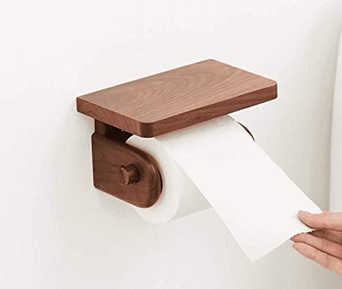 Hagyh El Nogal Negro Todo Madera Maciza Toallero WC Papel Higiénico Rack Aceite De Cera De Madera Inodoro WC De Madera Simple Store