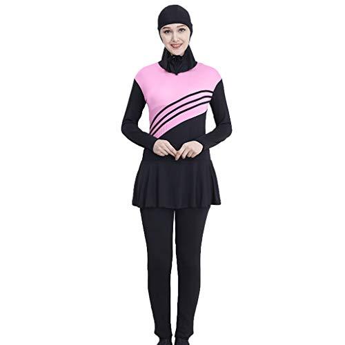 Lyguy Bikini Set, Damen Mädchen Plus Size Muslim Islamisch Modest Badeanzug Einteiliger Overall Farbblockstreifen Stehkragen Badeanzug Mit Hijab Rosa 3XL