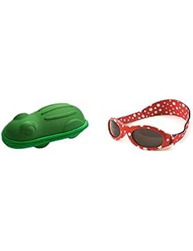BabyBanz - Rote gepunktete Baby-Sonnenbrille und grünes Etui in Froschform, 0-2Jahre.