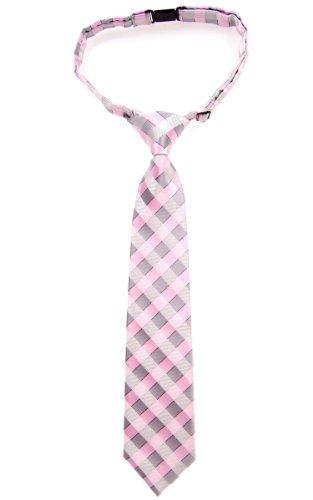 Retreez Jungen Gewebte vorgebundene Krawatte Klassische Karo - rosa und grau - 4 - 7 Jahre