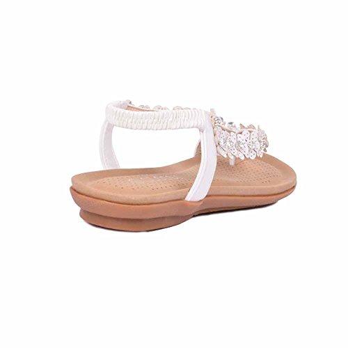 Neu Damen Diamant-zehensteg Knöchelriemen Sommer Strand Flache Sandalen Schuhgröße Glänzend - weiß
