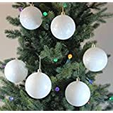 Christmas Tree Decoration Hanging- White Ball (Pack Of 12)