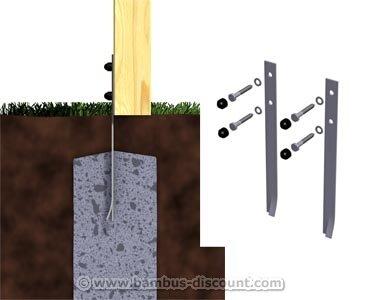 bambus-discount.com Bodenanker Safety, 2er Set für Spieltürme zum einbetonieren - Kinderspielgeräte für Garten, Spielgeräte für Kinder, Spielturm, Spieltürme