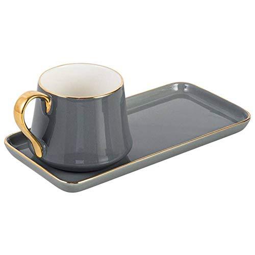 LYSL Kreative kleine Keramik Kaffeetasse und Untertasse Set Keramik Becher Frühstück Milch Glas Nachmittagstee Set