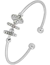 Delicate Free Size Adjustable Silver Brass Rhodium Plated CZ Cuff Bracelet For Girls Women