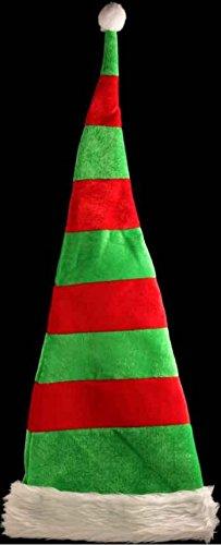 Red Green Striped Stripey Hat Fancy Dress Costume Xmas Party Wired Gift ( Santa Helper Hat ) ()