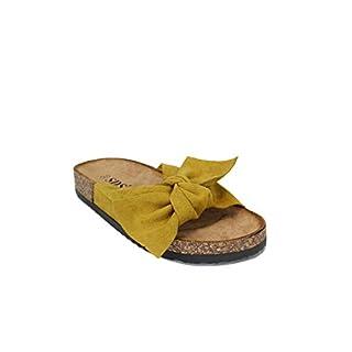 irisaa Bunte Pantoletten Sandalen mit Schleifen oder Blumen zum Sommer, Schuhgröße 36-41:41, 2019 Patoletten Farbe (1):Yellow New