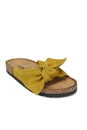 irisaa Bunte Pantoletten Sandalen mit Schleifen oder Blumen zum Sommer, Schuhgröße 36-41:38, 2019 Patoletten Farbe (1):Yellow New (Gelbe Schuhe Mit Absätzen Für Frauen)