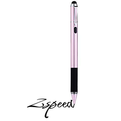 Zspeed Pennino Capacitivo Stilo Penna 2 in 1 Punta Fine Penna Touch Stylus Pen con Punte della Gomma di Ricambio per iPad, Tablet, iPhone, Smartphone, Samsung Galaxy Note/Tab e più (rosa, 6.3-inch)