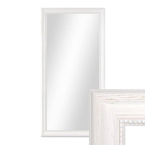 PHOTOLINI Wand-Spiegel 36x66 cm im Holzrahmen Landhaus-Stil Weiss/Spiegelfläche 30x60 cm