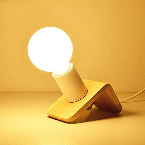 Kreative Mini Holz Nachtlicht Modernen Minimalistischen E27 Schlafzimmer Nachttischlampe Büro Studie Dekorative Ornamente Schreibtisch Tischlaterne Desking Beleuchtung (Farbe: Schwarz) - Schwarz Poliert-schreibtisch-lampe