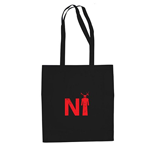 Planet Nerd Knights who say Ni - Stofftasche/Beutel, Farbe: schwarz -
