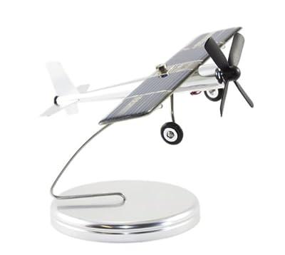 Solarflugzeug auf Sockel mit Positionsleuchten - Solar Aeroplane on Stand - Avion Solaire Sur Socle Avec Feux, Alu von Inpro Solar