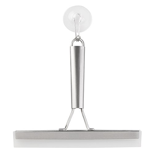 mDesign Rasqueta limpiacristales para mamparas de ducha – Limpiacristales con ventosa para colgar – Limpiador de cristales para baño, cabinas de ducha y azulejos – Acero inoxidable plateado